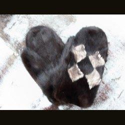 """Варежки """"Норка-черный"""" с ромбами"""
