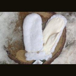 """Варежки """"Кролик-белый"""" кожа"""