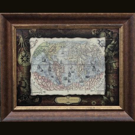 Карта кожаная UNTVERSALE DESCRITTIONE DI TUTTALA TERRA CONOSCIUTA FIN QUI (jacobo GASTALODI)
