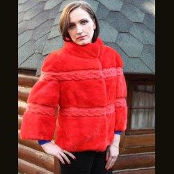 Куртка женская из норки с косами