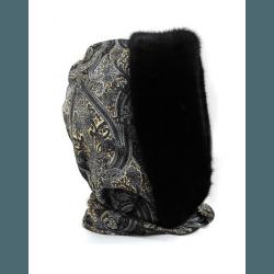Шапка-капюшон с норкой, черно-серый