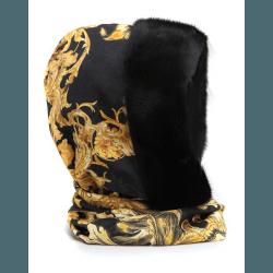 Шапка-капюшон с норкой, черно-золотистый