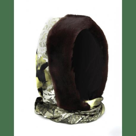 Шапка-капюшон с норкой коричневой