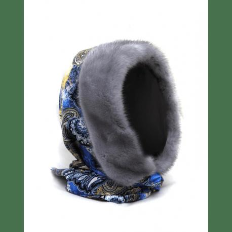 Шапка-капюшон с норкой, серо-синий