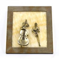 """Картина-панно """"Контрабасист и саксофонист"""" на ониксе"""