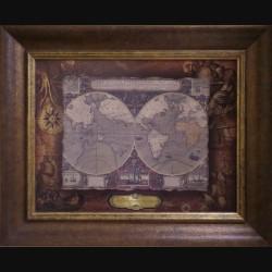 Карта кожаная VERA TOTIUS EXPEDITIONIS NAUTICA (jodocus HONDIUS)