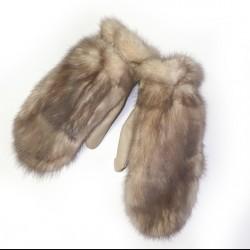 Варежки женские из меха норки пастель
