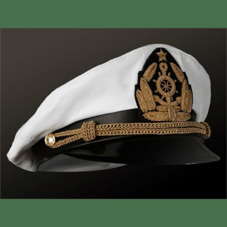 Капитанка кожаная белая