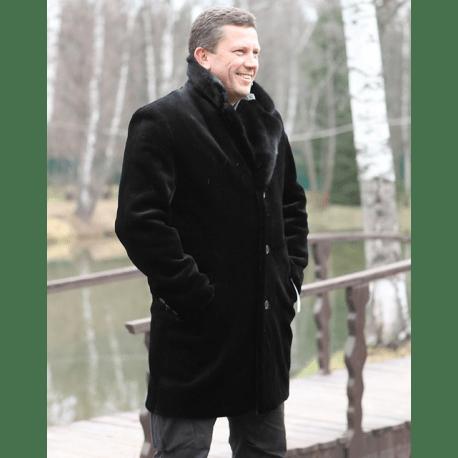 Пальто мужское из стриженого бобра